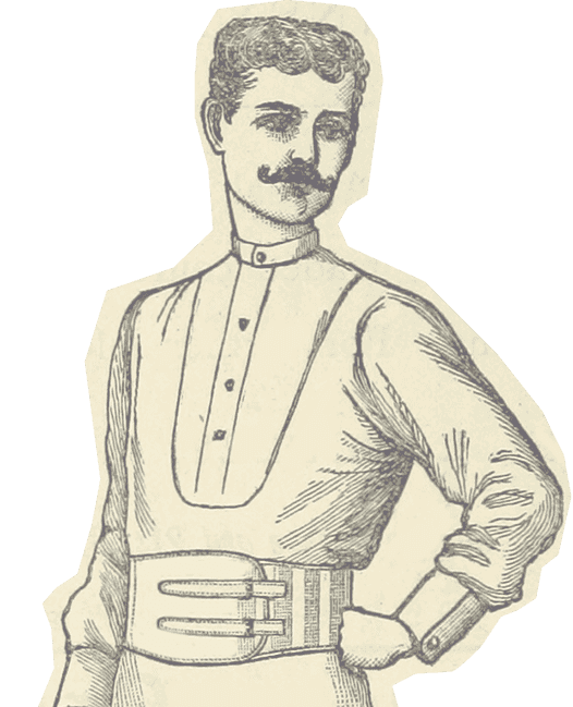 a cutout illustration of a man wearing a large belt and sporting a bushy mustache